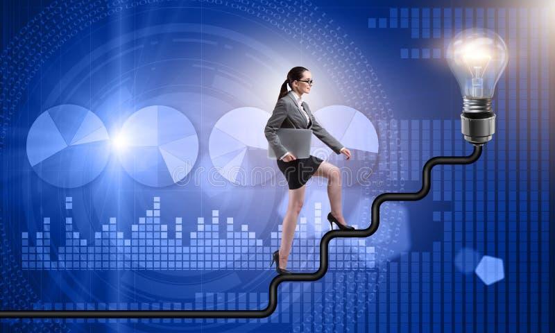 Die kletternde Karriereleiter der Geschäftsfrau in Richtung zur Glühlampe lizenzfreie abbildung