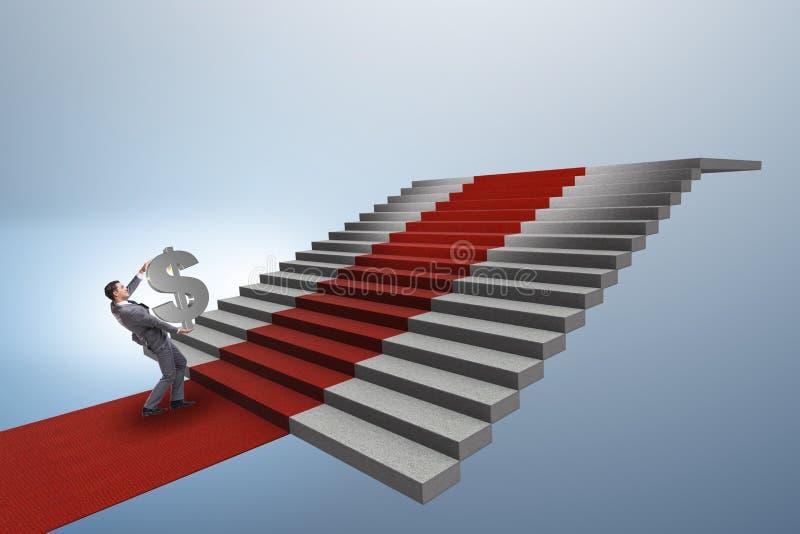Die kletternde Treppe des jungen Geschäftsmannes und der rote Teppich stock abbildung