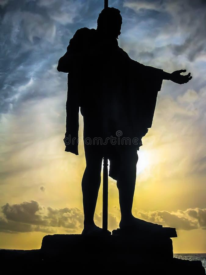 Die Klugheit der Statue des Guanche Königs lizenzfreie stockfotos