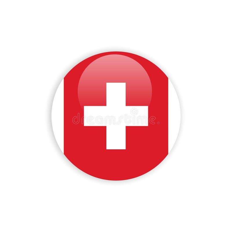 Die Knopf-Schweiz-Flaggen-Vektor-Schablonen-Entwurf vektor abbildung