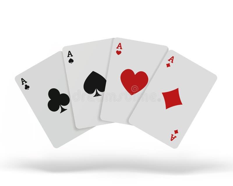 Die Kombination des Spielkartepokerkasinos Lokalisierte Spielkarten oben auf der Tabelle lokalisiert auf weißem Hintergrund Vekto stock abbildung