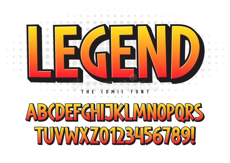 Die komische Schriftart der Legende 3d, buntes Alphabet, Schriftbild vektor abbildung