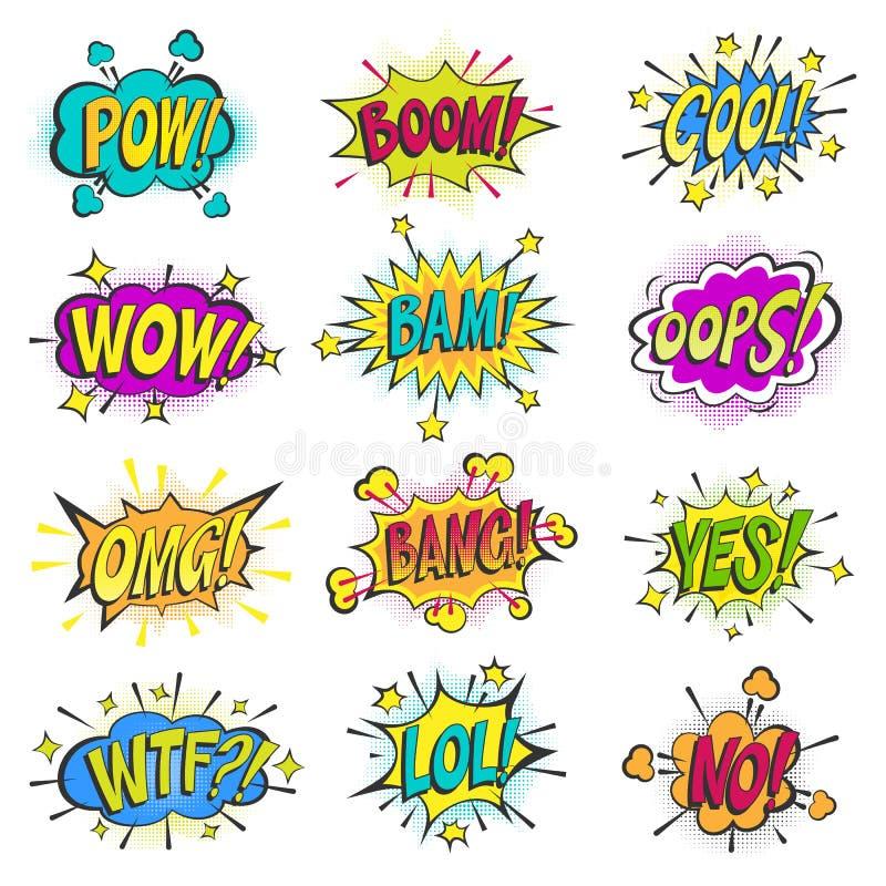 Die komischen Blasen der Pop-Art vector sprudelnde der bunten asrtistic Comicsformen Sprachewolke Karikatur popart Ballons an lok stock abbildung