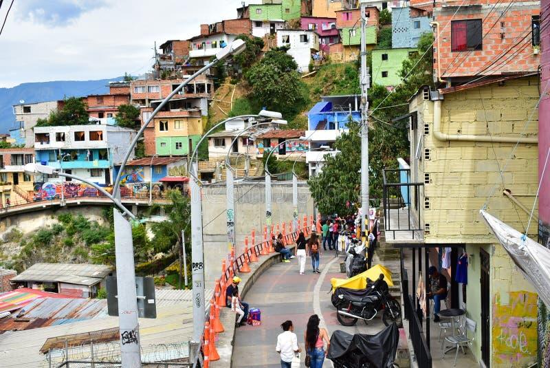 die Kommune 13 von Medellin stockbild