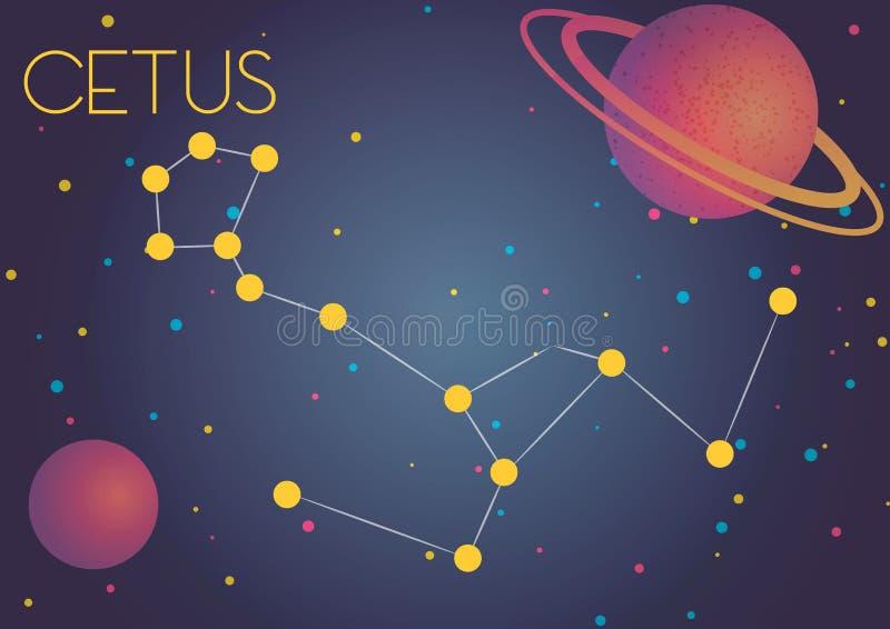 Die Konstellation Cetus lizenzfreie abbildung