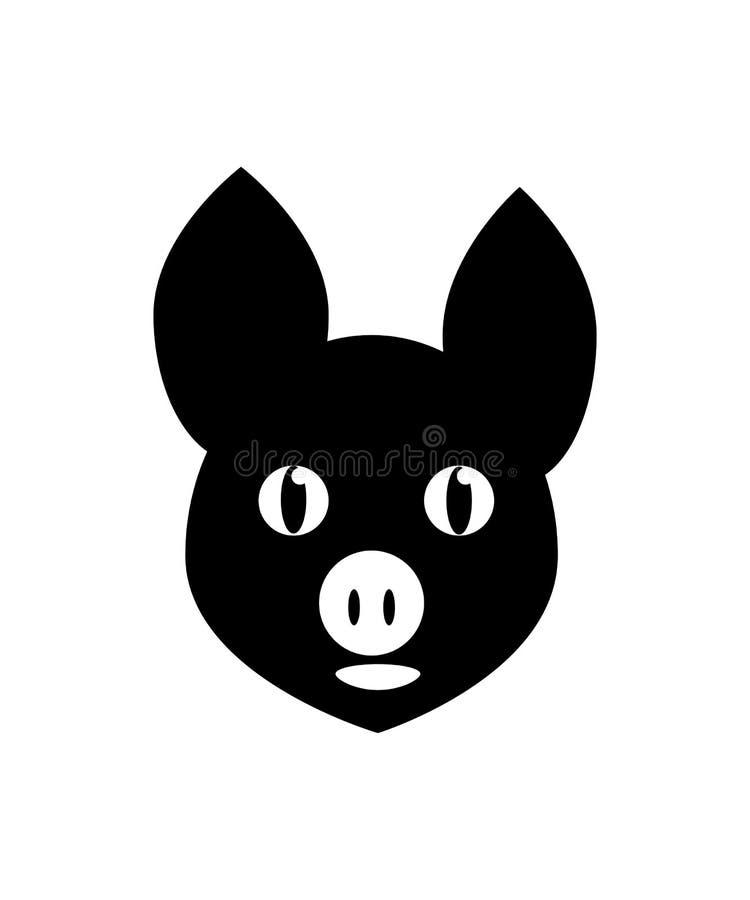 Die kopf- schwarze Ikone des Schweins stock abbildung
