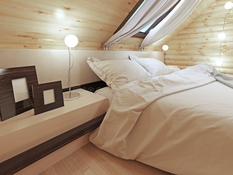 Die Kopfende des Betts mit einem Nachttisch mit Bildern lizenzfreie stockbilder