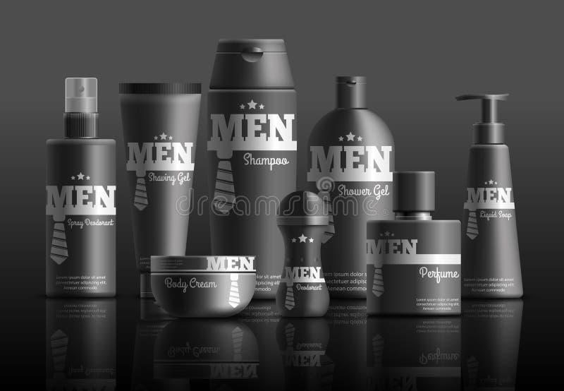 Die kosmetische Reihen-realistische Zusammensetzung der Männer lizenzfreie abbildung