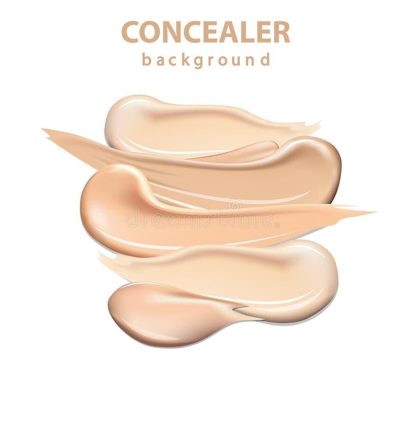 Die kosmetischen Abdeckstiftabstrichanschläge, die auf weißem Hintergrund, Toncreme lokalisiert wurden, befleckten Vektor lizenzfreie abbildung