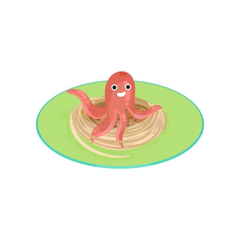 Die kreativen Spaghettis, die mit Wurst in Form der Molluske geschmückt werden, vector Illustration auf einem weißen Hintergrund stock abbildung