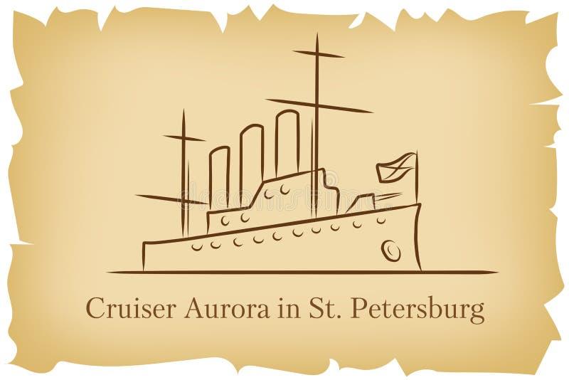 Die Kreuzer-Aurora in StPetersburg, Russland-lineart Illustration für Logo, Ikone, Plakat, Fahne auf braunem altem der Hintergrun stock abbildung