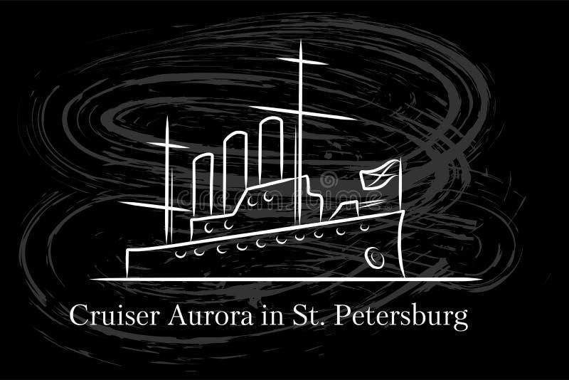 Die Kreuzer-Aurora in StPetersburg, Russland-lineart Illustration für Logo, Ikone, Plakat, Fahne, weiße Linie auf Tafel vektor abbildung