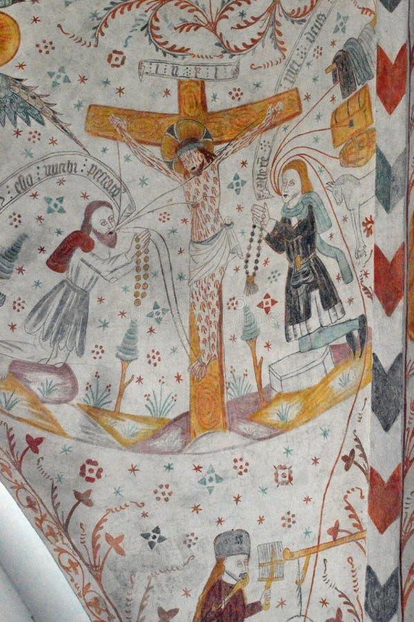 Die Kreuzigung - Frescoed Kirchen von Kirche Møn - Keldby stockbild