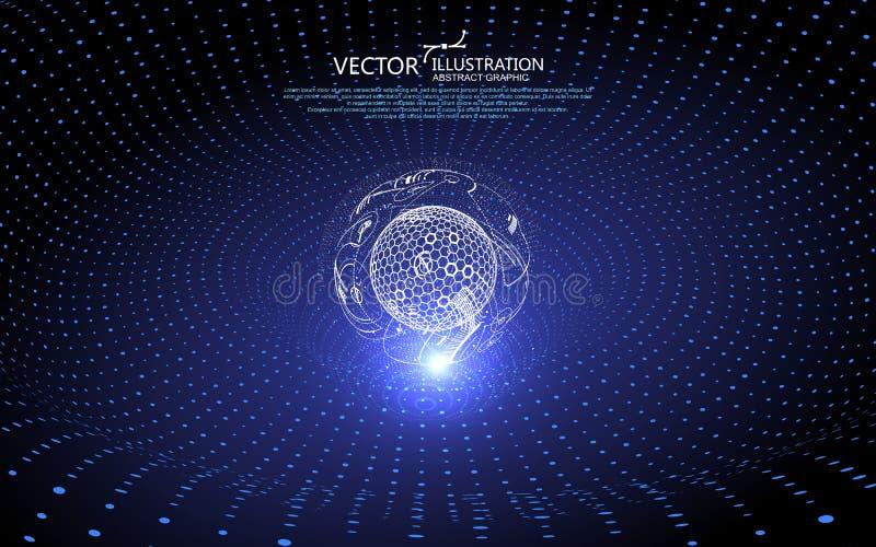 Die Kurve bildet eine dreidimensionale Strudelform, Gravitationswellenkonzept, Technologiehintergrunddesign, Kreis stock abbildung