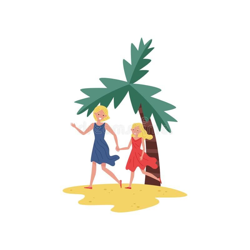 Die lächelnde Mutter und Tochter, die durch Strand laufen, versanden und Händchenhalten Im Freienerholung Mutterschaftsthema Flac vektor abbildung
