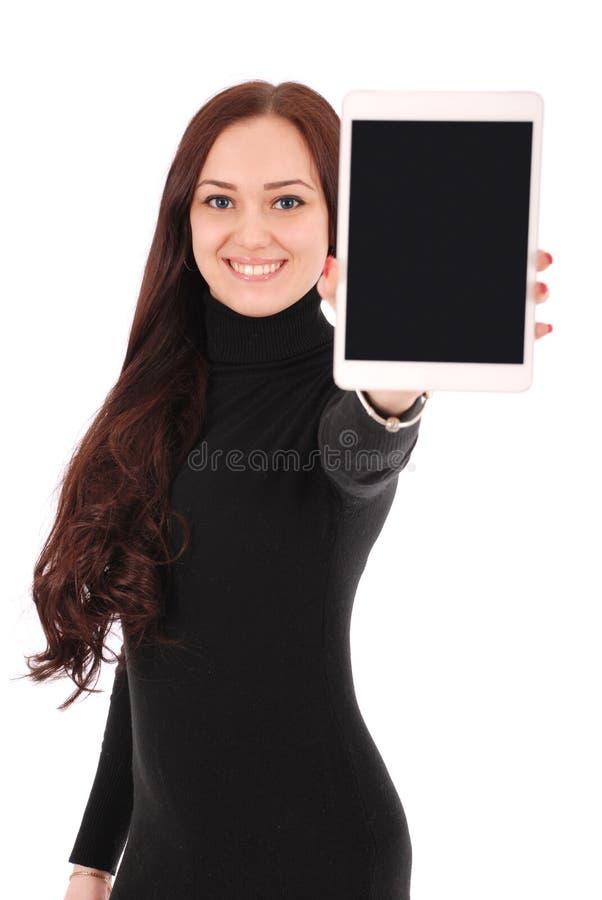 Die lächelnde Studentenjugendliche, die eine Tablette zeigt, zeigen applicatio an lizenzfreies stockfoto