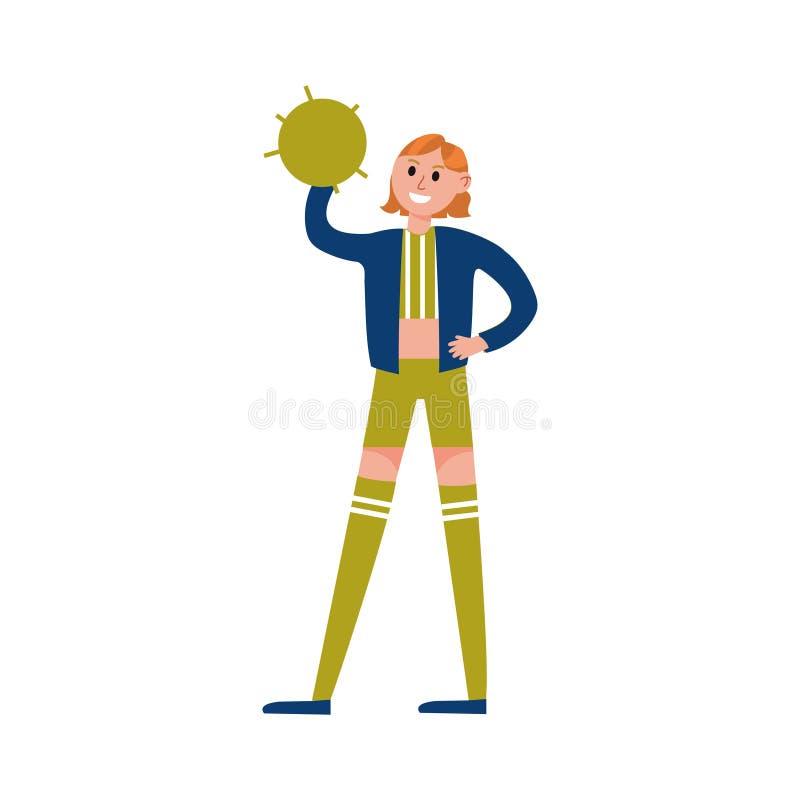 Die lächelnde tragende Uniform des Cheerleadermädchens, die grüne Pompomzeichentrickfilm-figur steht und hält, vector Illustratio vektor abbildung