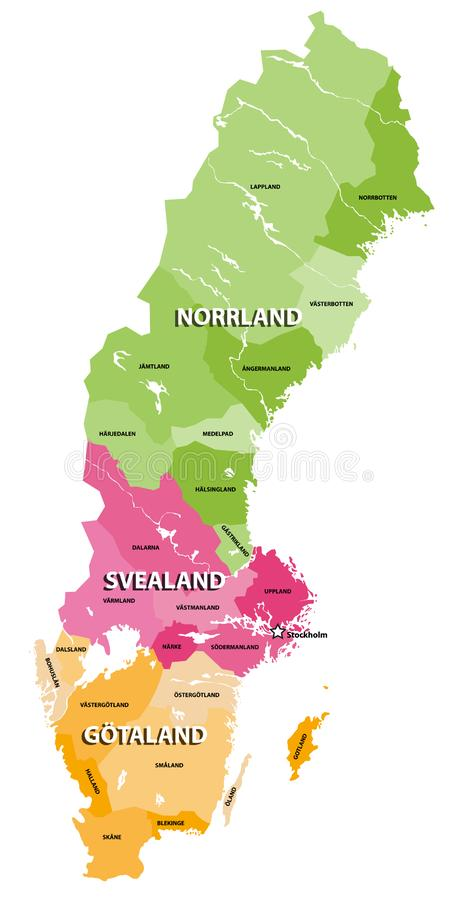 Die Länder der Schweden-Vektorkarte Drei traditionelle Teile von Schweden jedes bestehende Provinzen lizenzfreie abbildung