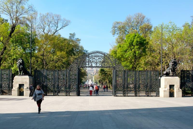 Die Löwen versehen Eingang zum Chapultepec-Park in Mexiko City mit einem Gatter lizenzfreie stockbilder