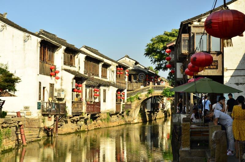 Die Landschaft von Shantang-Straße in Suzhou, China im Frühjahr lizenzfreies stockbild