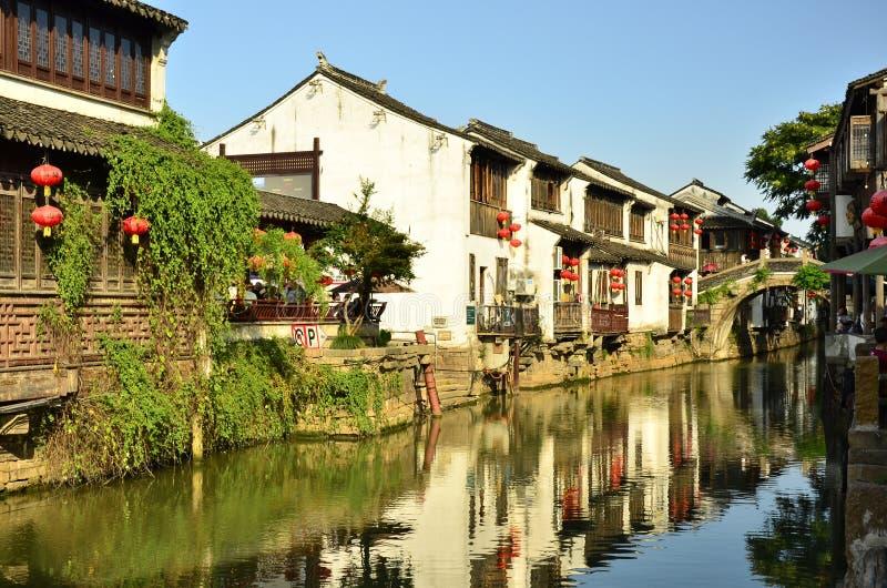 Die Landschaft von Shantang-Straße in Suzhou, China im Frühjahr stockfotos