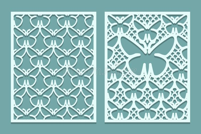 Die and laser cut decorative lace panels patterns with butterflies. Set of bookmarks templates. Cabinet fretwork panel. Laser Cut. Metal screen. Wood or paper royalty free illustration
