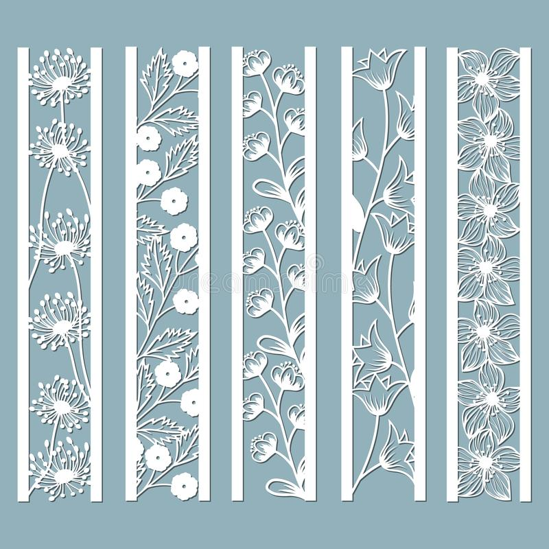 Die and laser cut ornamental panels with floral pattern. bell, dandelion, Orchid, flowers and leaves. Laser cut decorative lace. Borders patterns. Set of stock illustration