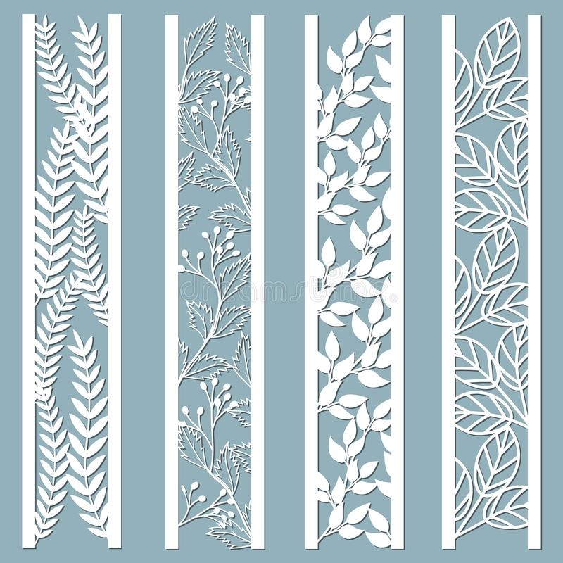 Die and laser cut ornamental panels with floral pattern. leaves, berries, fern. Laser cut decorative lace borders patterns. Set of. Bookmarks templates. Sticker vector illustration