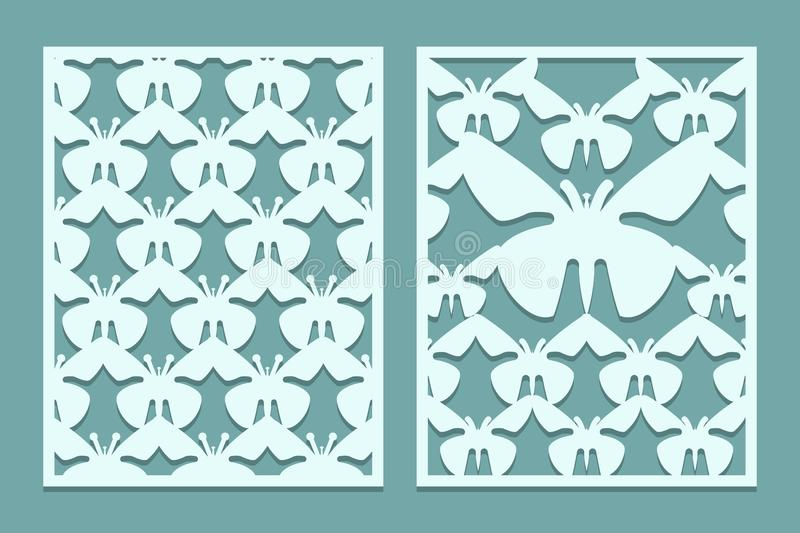 Die And Laser Cut Ornate Lace Panels Patterns With Butterflies. Set ...