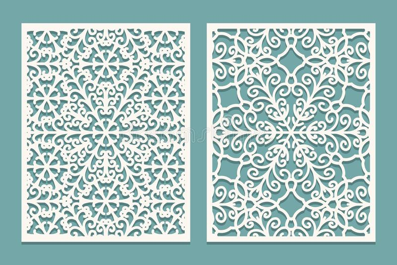 Die and laser cut scenical panels with snowflakes pattern. Laser cutting decorative lace borders patterns. Set of Wedding Invitati. On or greeting card templates stock illustration