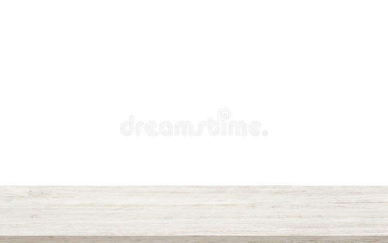 Die leere Holztischspitze, die auf weißem Hintergrund lokalisiert wird - kann für Anzeigen- oder Montageprodukte verwendet werden stockbild