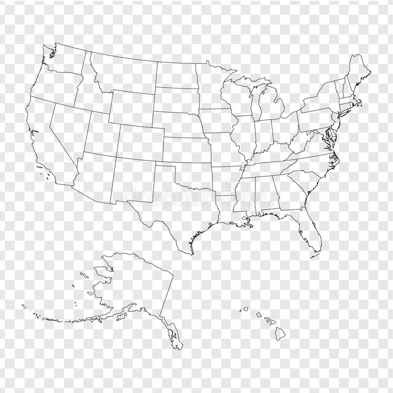Die leeren Karte Vereinigten Staaten von Amerika Karte der hohen Qualität von USA mit Bundesländern auf transparentem Hintergrund stock abbildung