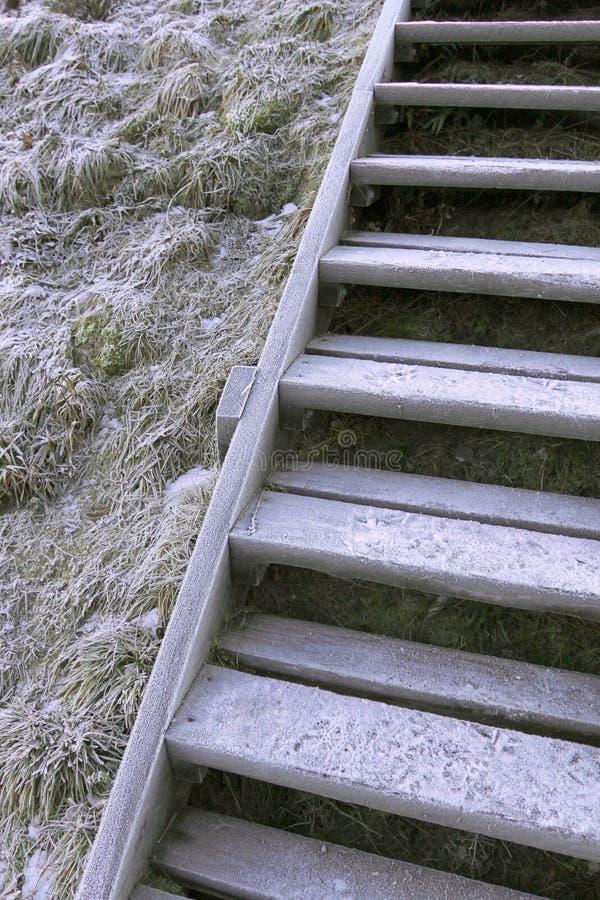 Die Leiter zum Spitzen überlagert mit Eis und Schnee stockfotografie