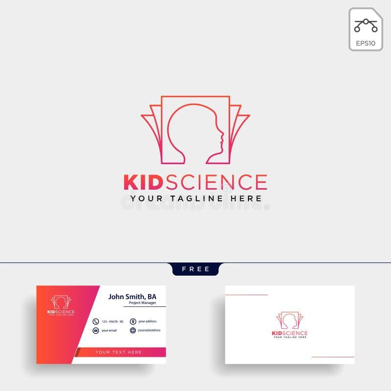 die lernenden Kinder, Logoschablonenvektorillustrations-Ikonenelement der Wissenschaft kreatives lokalisierten stockbilder