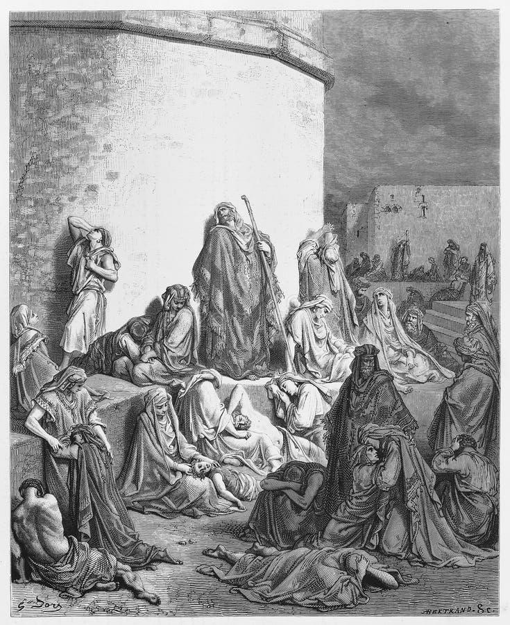 Die Leute, die über den Ruinen von Jerusalem beklagen vektor abbildung