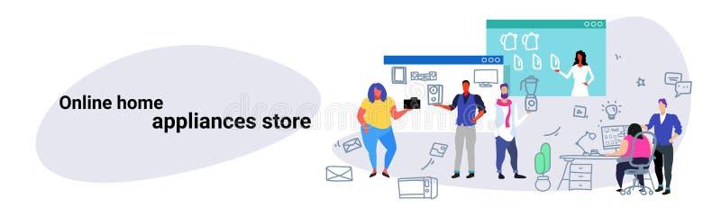 Die Leute, die kaufende on-line-Haushaltsgeräte tun, kaufen die Konzeptmannfrauen, die neue digitale Techniken mit Computer wähle lizenzfreie abbildung