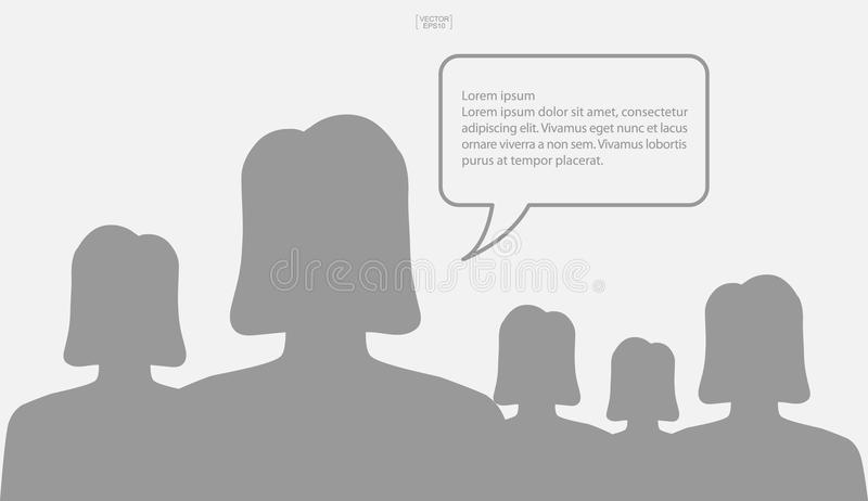 Die Leute, die mit Blase sprechen, unterzeichnen Bereich für Kopienraum Mensch denken stock abbildung