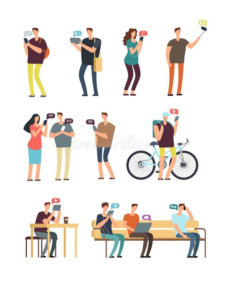 Die Leute, die Mobiltelefon, bewegliches Internet und Smartphonesucht verwenden, vector Konzept Dieses ist Datei des Formats EPS8 lizenzfreie abbildung