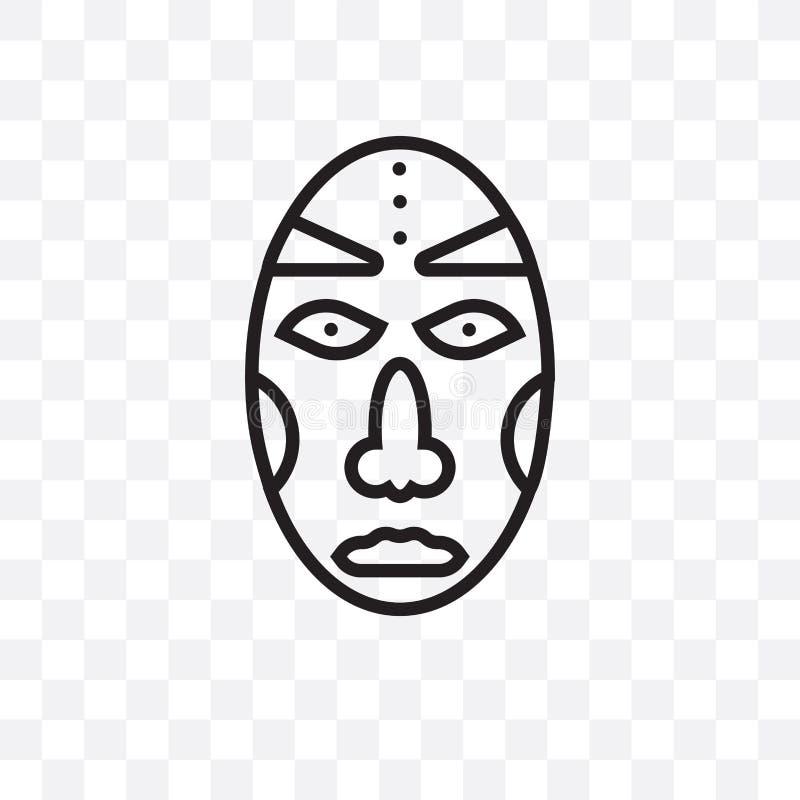die lineare Ikone des afrikanischen Maskenvektors, die auf transparentem Hintergrund, afrikanisches Maskentransparenzkonzept loka vektor abbildung