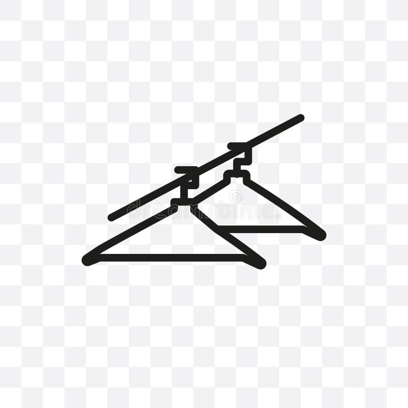Die lineare Ikone des Kleiderbügelvektors, die auf transparentem Hintergrund, Kleiderbügeltransparenzkonzept lokalisiert wird, ka lizenzfreie abbildung