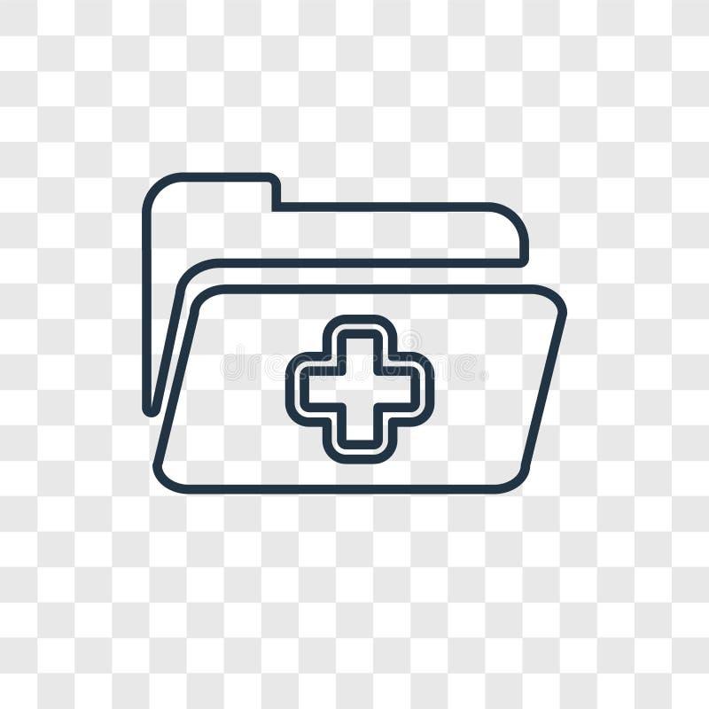 Die lineare Ikone des Krankenblattkonzept-Vektors, die an lokalisiert wird, transparen lizenzfreie abbildung