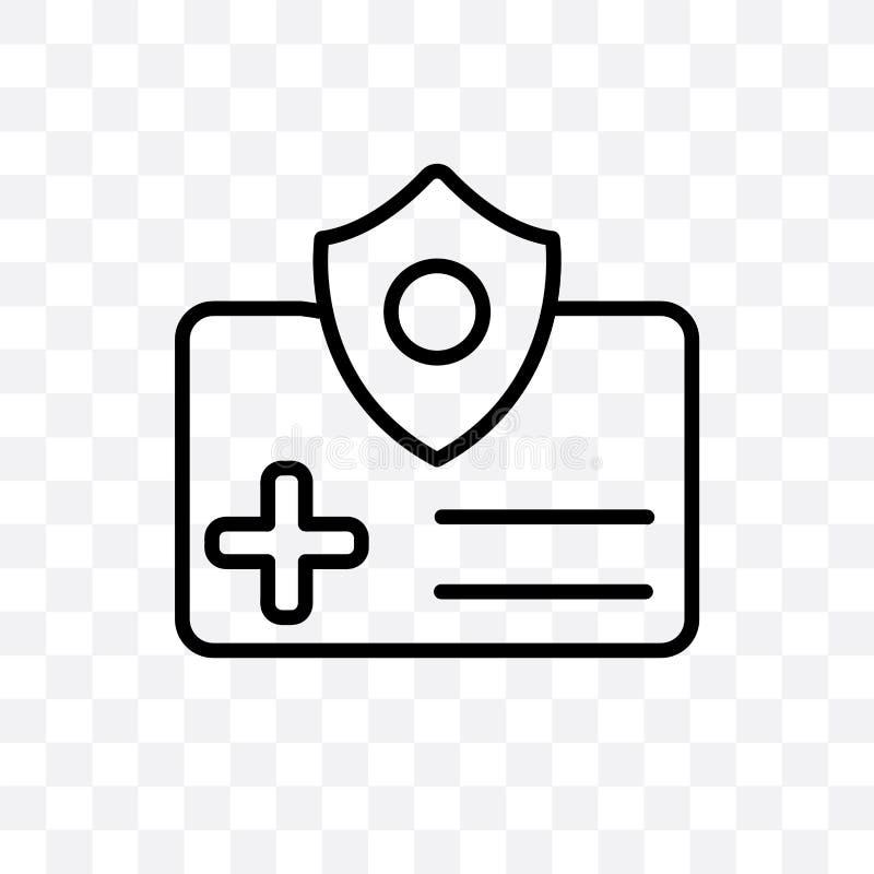 Die lineare Ikone des Krankenversicherungs-Vektors, die auf transparentem Hintergrund, Krankenversicherungs-Transparenzkonzept lo vektor abbildung