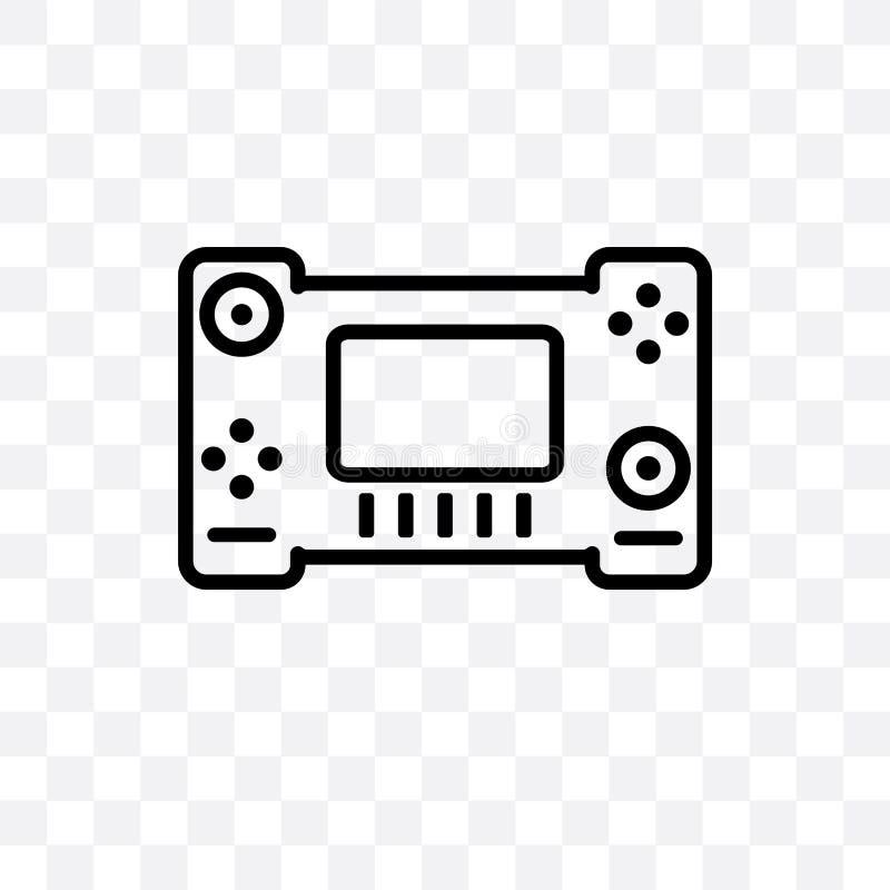 Die lineare Ikone des Nintendo-Schaltervektors, die auf transparentem Hintergrund, Nintendo-Schaltertransparenzkonzept lokalisier lizenzfreie abbildung