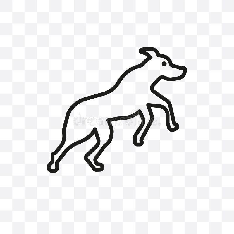 Die lineare Ikone des Rottweiler-Hundevektors, die auf transparentem Hintergrund, Rottweiler-Hundetransparenzkonzept lokalisiert  lizenzfreie abbildung