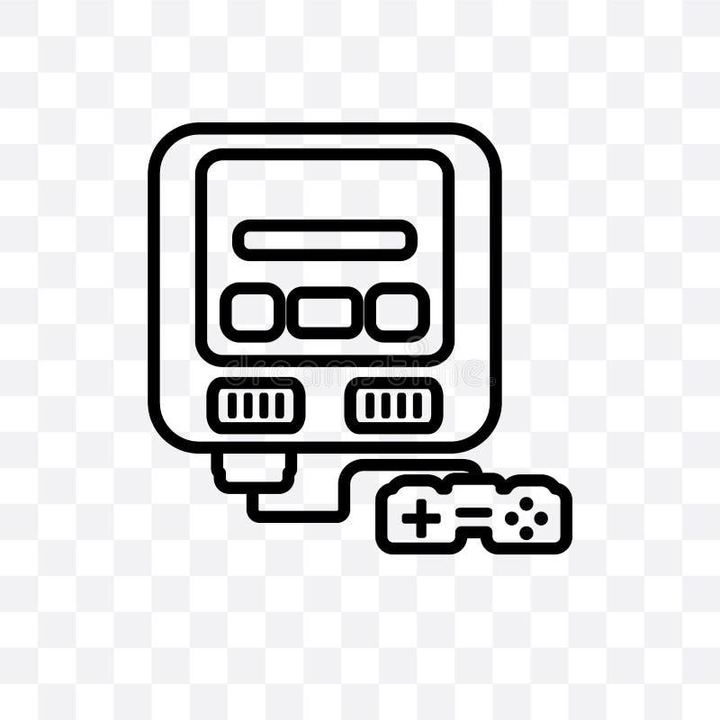 Die lineare Ikone Super- Nintendo-Vektors, die auf transparentem Hintergrund, Super-Nintendo-Transparenzkonzept lokalisiert wird, stock abbildung