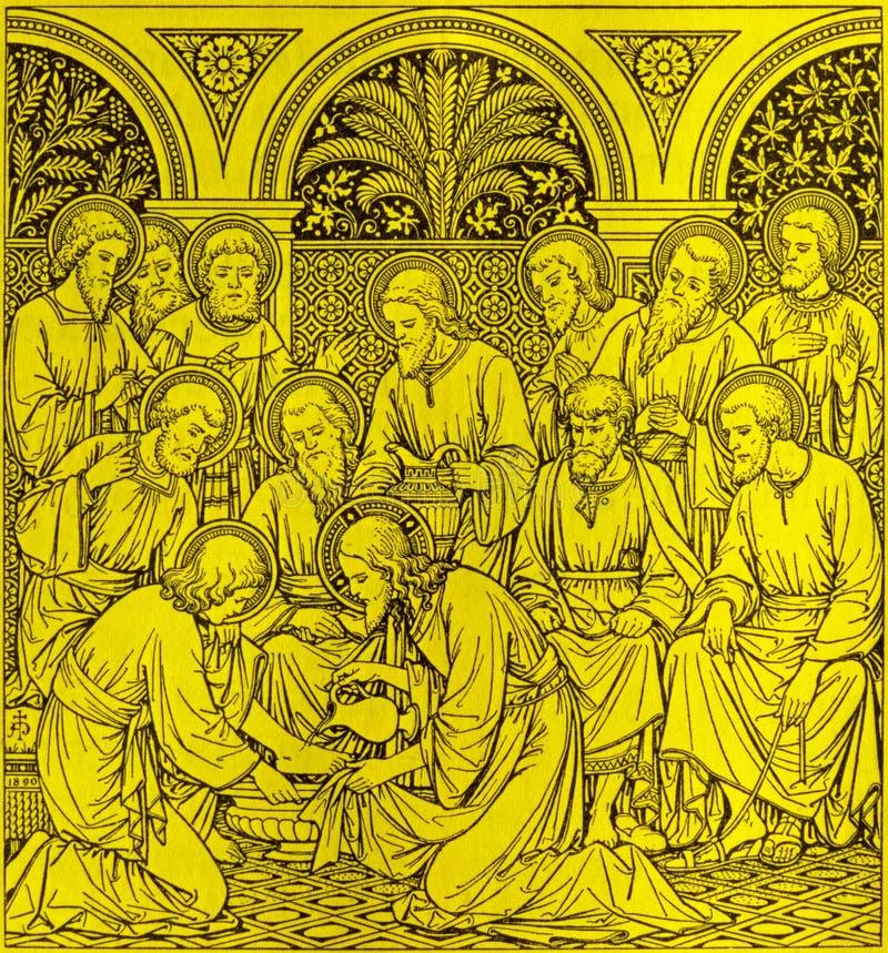 Die Lithographie des letzten Abendessens in Missale Romanum durch unbekannten Künstler mit den Initialen F M S 1890 stockbild