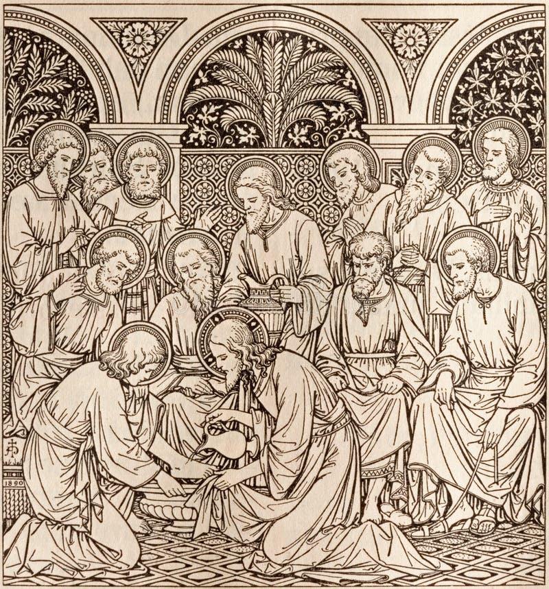 Die Lithographie des letzten Abendessens in Missale Romanum durch unbekannten Künstler mit den Initialen F M S 1890 lizenzfreie stockfotos