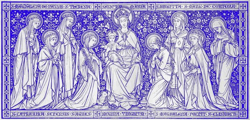 Die Lithographie Madonna unter den Jungfrauen entwarf durch unbekannten Künstler mit den Initialen F M S 1888 lizenzfreie stockfotos