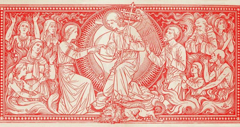 Die Lithographie von letztem Judgmet in Missale Romanum durch unbekannten Künstler mit den Initialen F M S vom Ende von 19 cent stockfotografie