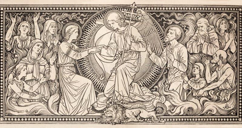 Die Lithographie von letztem Judgmet in Missale Romanum durch unbekannten Künstler mit den Initialen F M S vom Ende von 19 cent stockfotos
